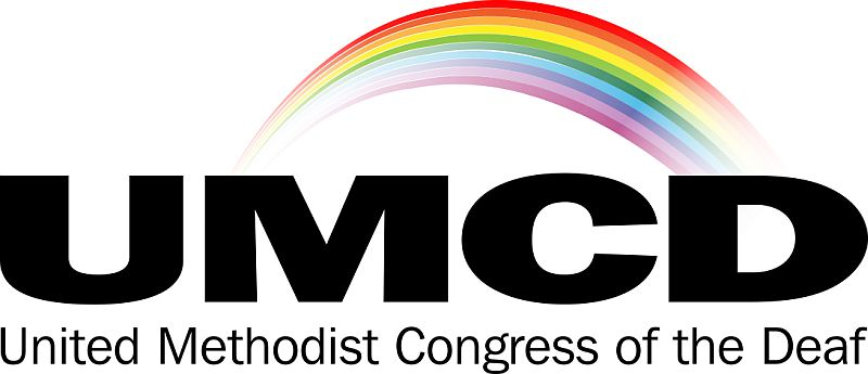 United Methodist Congress of the Deaf, logo with name and a rainbow above