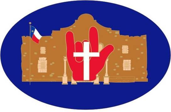 logo of South Central Jurisdiction, the Alamo with a hand signing I Love You.
