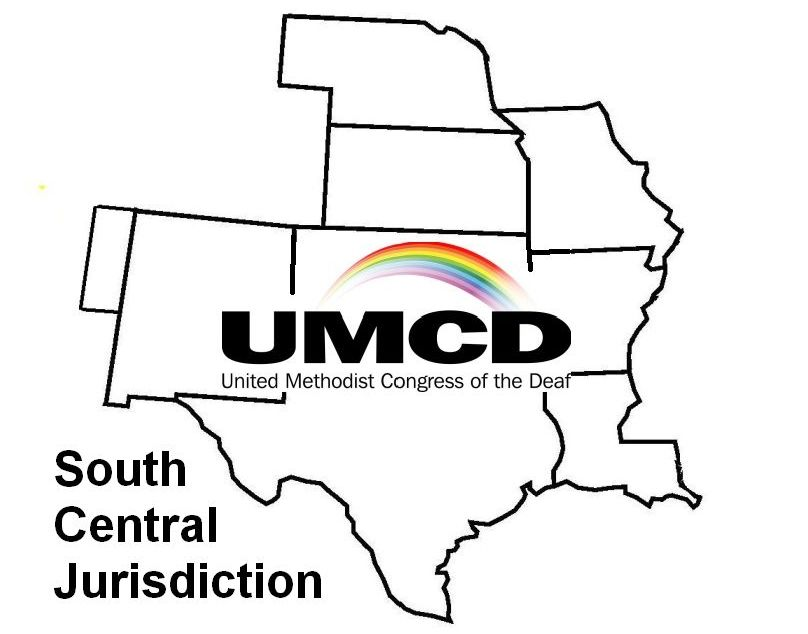 logo of South Central Jurisdiction, map with UMCD rainbow.
